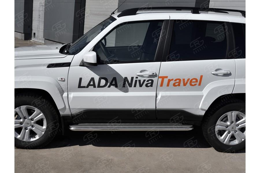 LADA NIVA TRAVEL 2021- Пороги труба d42 с листом (Лист нерж, проф. нерж) (вариант 3) LNTL-0035623