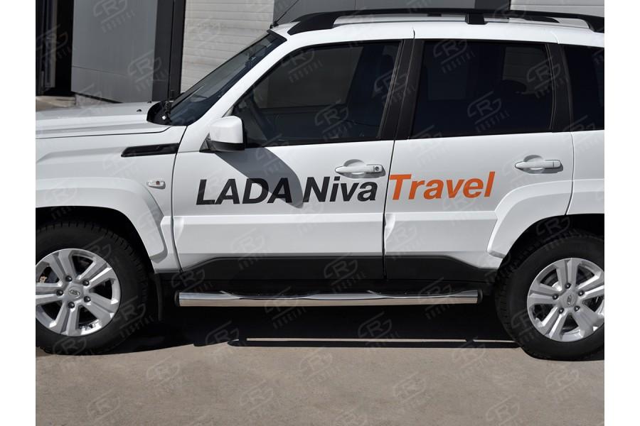 LADA NIVA TRAVEL 2021- Пороги труба d76 с накладкой (вариант 2) LNTT-0035612