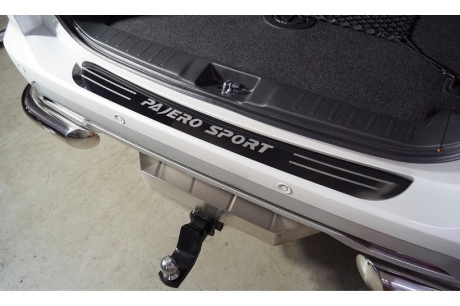 Накладка на задний бампер (лист зеркальный надпись Pajero Sport )