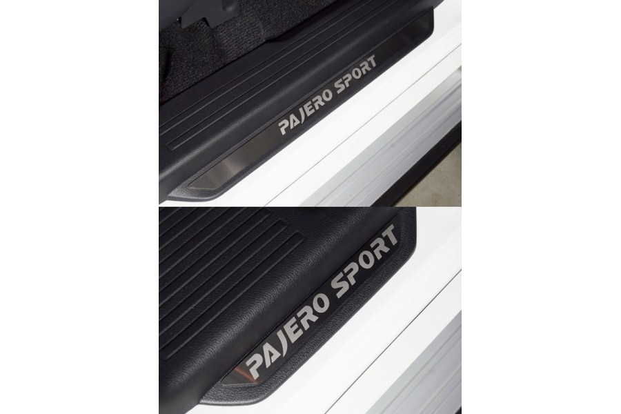 Накладки на пороги вставка (лист шлифованный надпись Pajero Sport )4шт