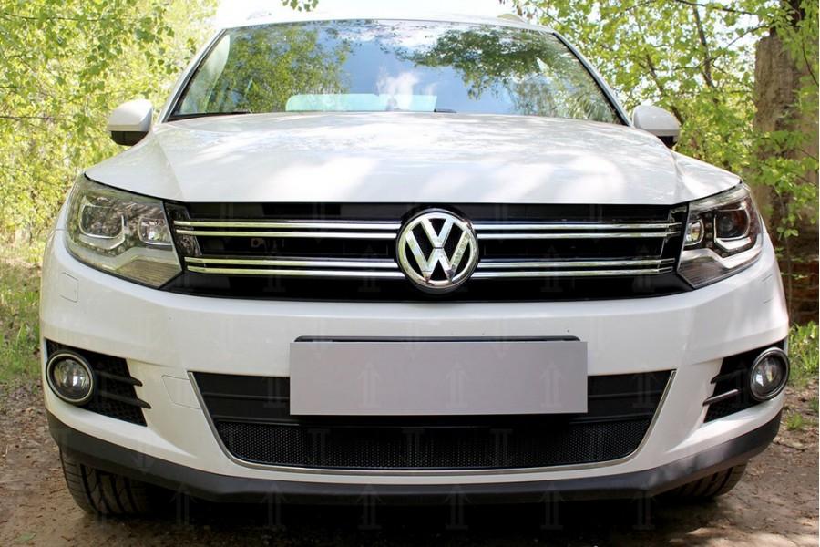 Защита радиатора Volkswagen Tiguan (рестайлинг) 2011-2016 black OPTIMAL