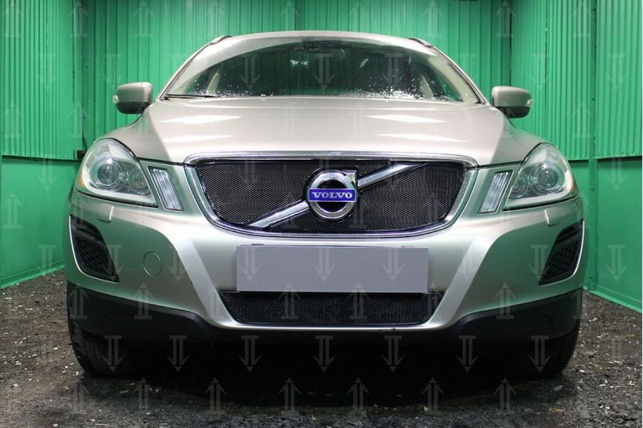 Защита радиатора Volvo XC60 2008-2013 black верх OPTIMAL