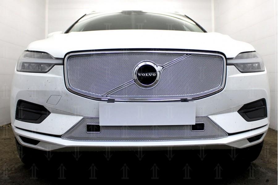 Защита радиатора Volvo XC60 2017- chrome низ с парктроником OPTIMAL