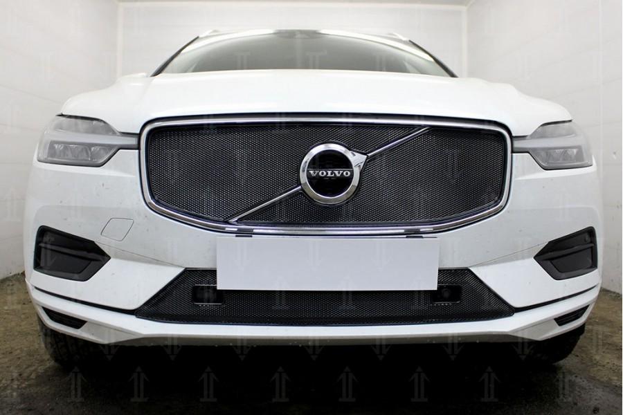 Защита радиатора Volvo XC60 2017- (2 части) (Momentum) black верх OPTIMAL
