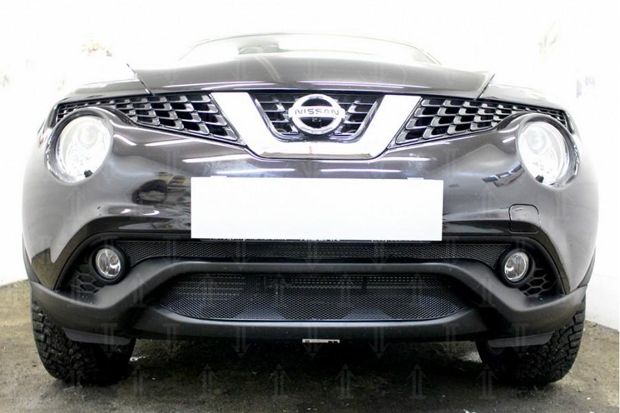 Защита радиатора Nissan Juke 2014- black середина OPTIMAL