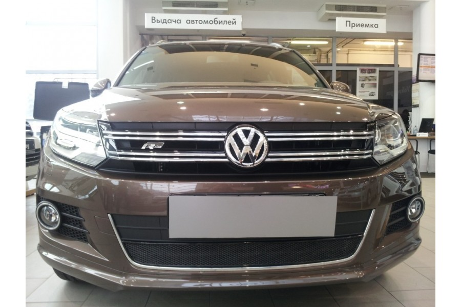 Защита радиатора Volkswagen Tiguan (рестайлинг) 2011-2016 black PREMIUM