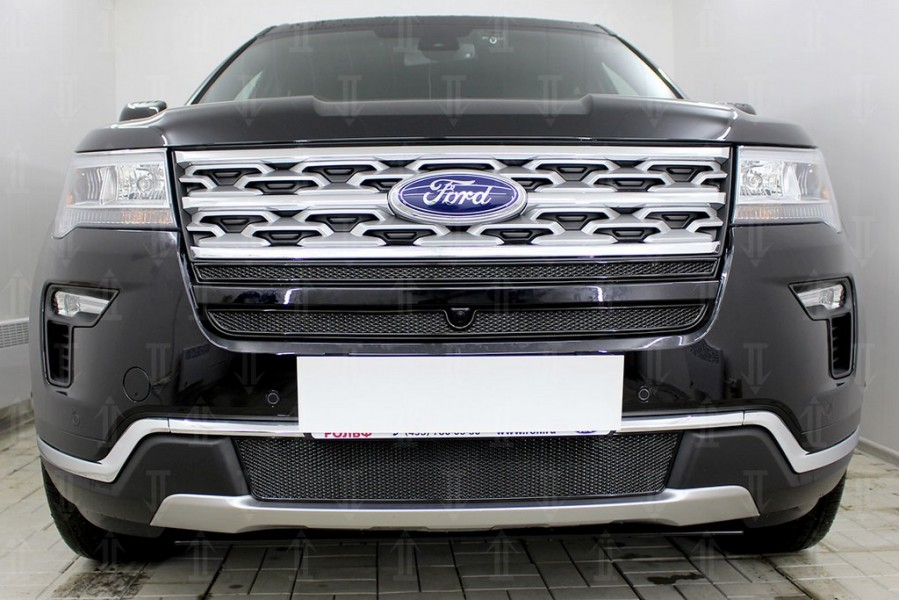 Защита радиатора Ford Explorer 2018- (2 части) black верх PREMIUM
