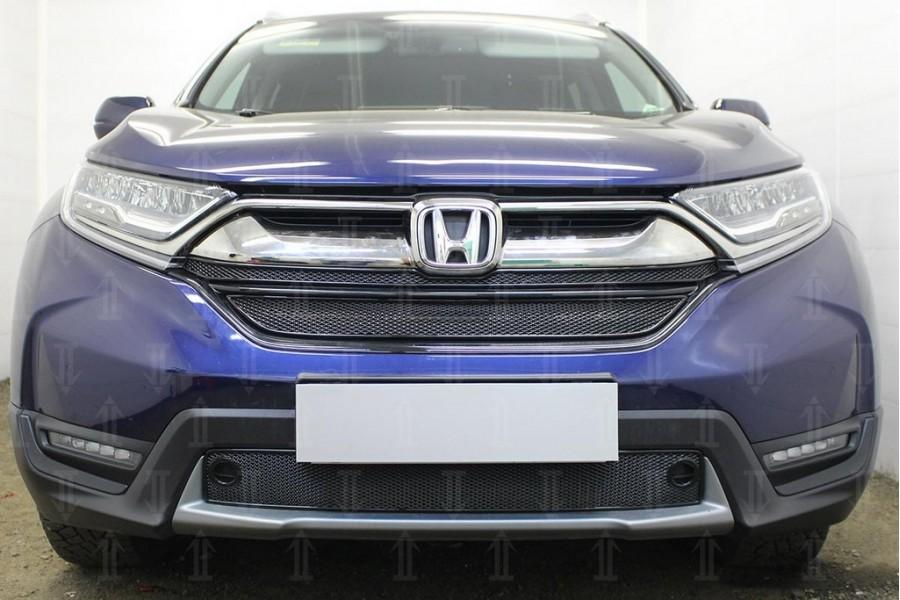 Защита радиатора Honda CR-V V 2016- (2 части) black верх PREMIUM