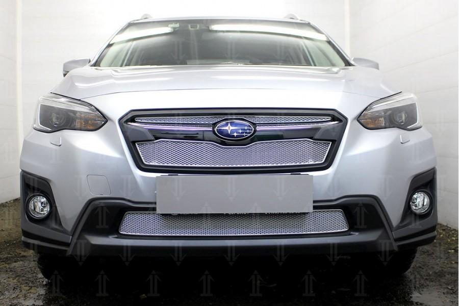 Защита радиатора Subaru XV 2017- (2 части) chrome верх PREMIUM