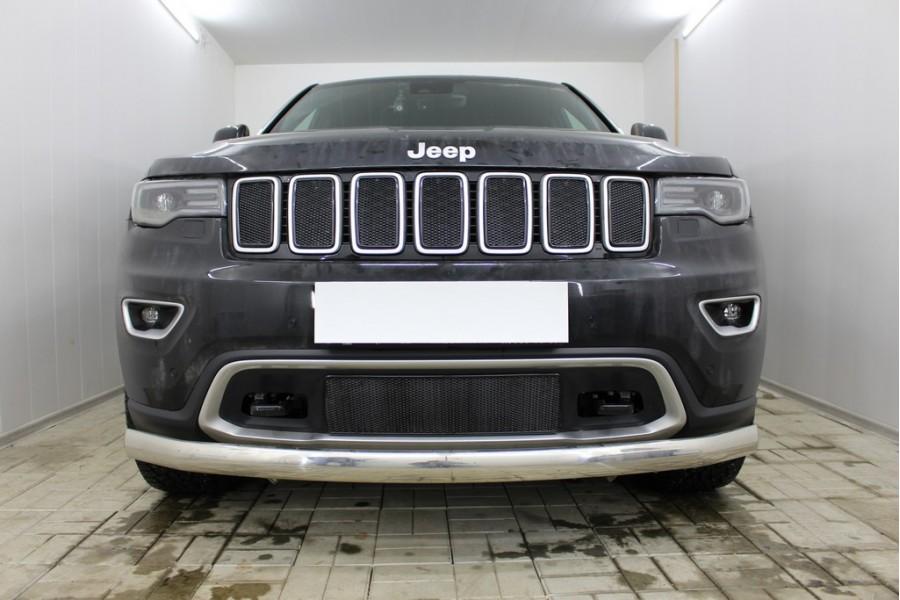 Защита радиатора Jeep Grand Cherokee (WK2) IV 2018- рестайлинг (Laredo, Limited, Trailhawk) black низ PREMIUM