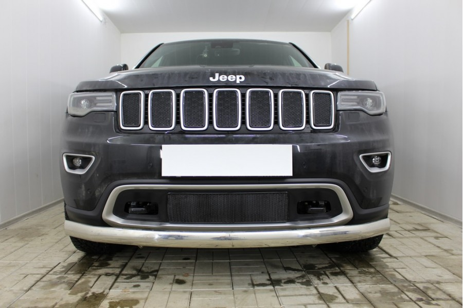 Защита радиатора Jeep Grand Cherokee (WK2) IV 2018- рестайлинг (Laredo, Limited) black верх PREMIUM (7 частей)