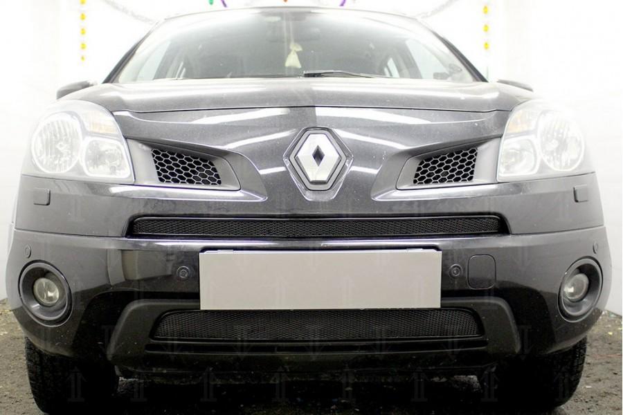 Защита радиатора Renault Koleos 2008-2011 black середина PREMIUM