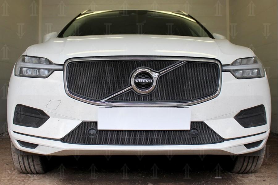 Защита радиатора Volvo XC60 2017- (2 части) black верх