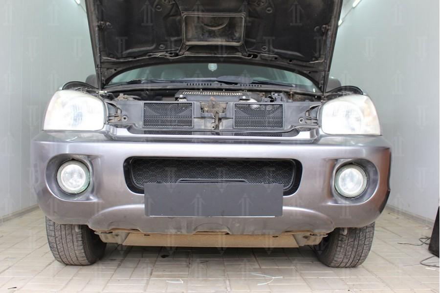 Защита радиатора Hyundai Santa Fe 2000-2012 black низ
