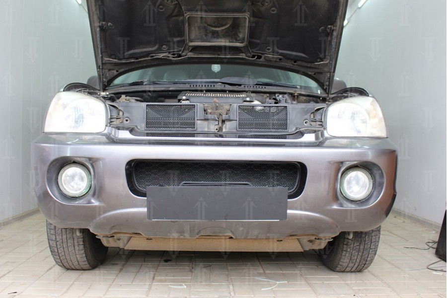 Защита радиатора Hyundai Santa Fe 2000-2012 (2 части) black верх