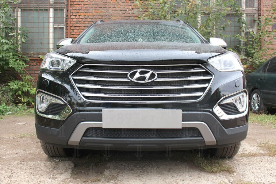 Защита радиатора Hyundai Grand Santa Fe III 2013-2015 black