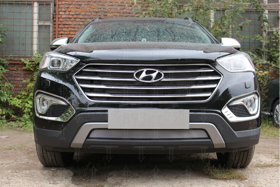 Защита радиатора Hyundai Grand Santa Fe III 2013-2015 chrome