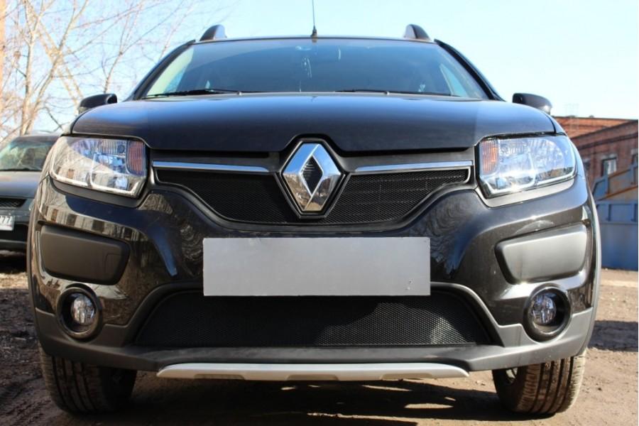 Защита радиатора Renault Sandero Stepway 2014-2018 black низ