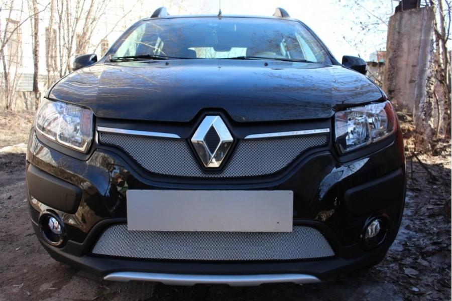 Защита радиатора Renault Sandero Stepway 2014-2018 chrome низ