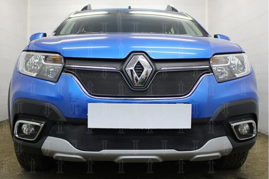 Защита радиатора Renault Sandero Stepway 2018- black низ