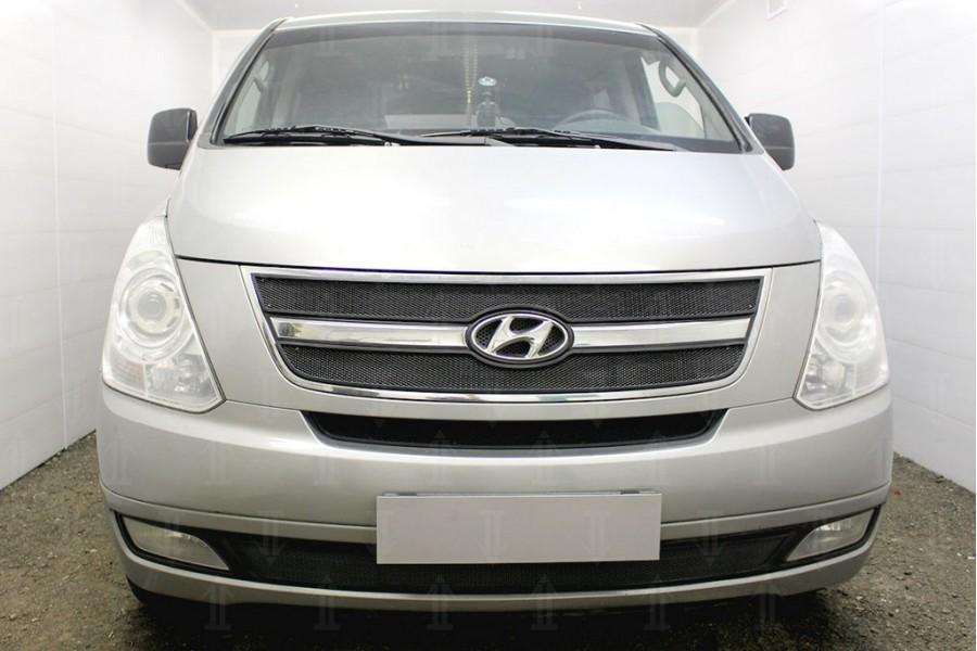 Защита радиатора Hyundai Starex H1 II 2007-2015 (3 части) black верх