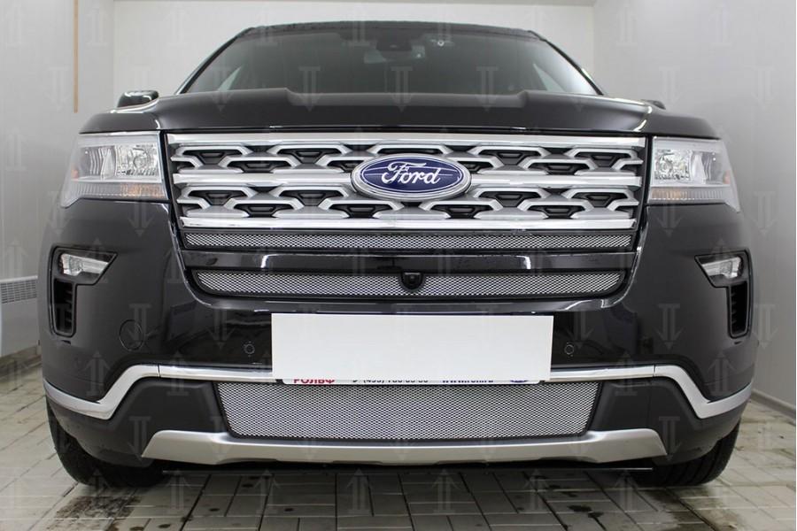 Защита радиатора Ford Explorer 2018- (2 части) с камерой chrome верх