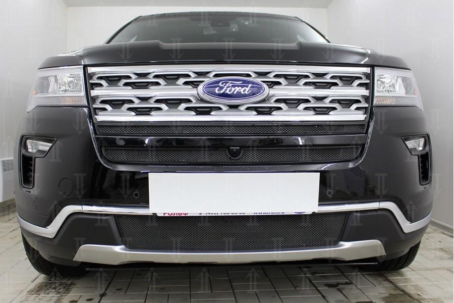 Защита радиатора Ford Explorer 2018- (2 части) black верх