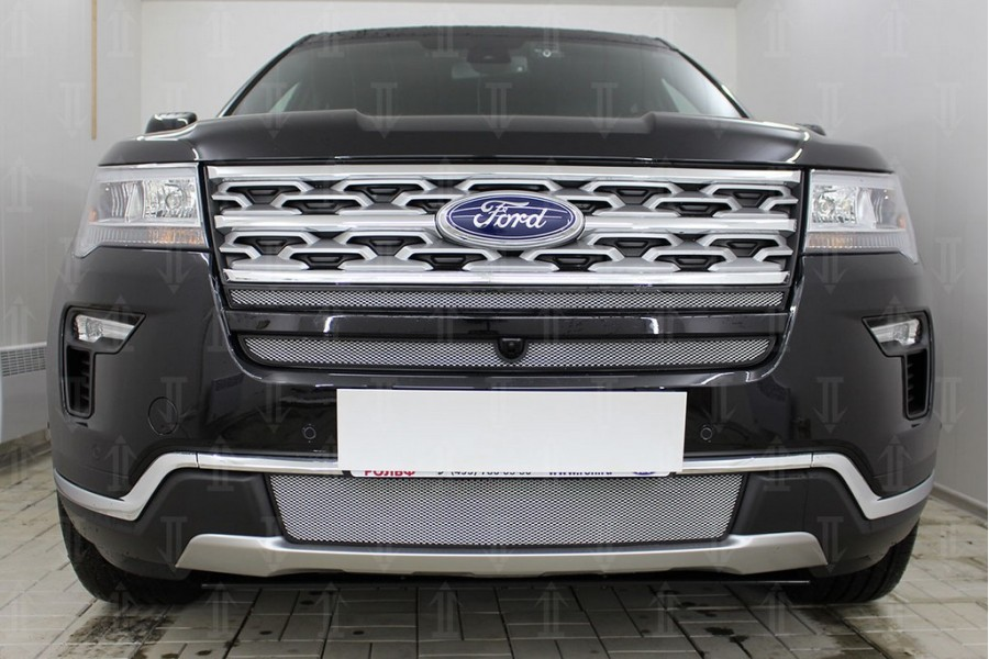 Защита радиатора Ford Explorer 2018- (2 части) chrome верх