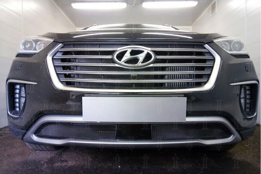 Защита радиатора Hyundai Grand Santa Fe III 2015- (2 части) с датчиком ACC black