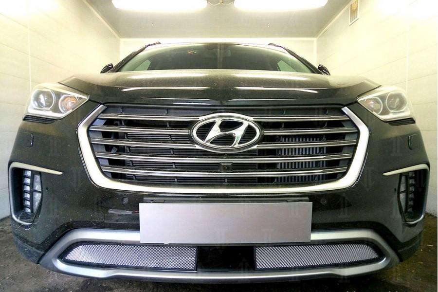 Защита радиатора Hyundai Grand Santa Fe III 2015- (2 части) с датчиком ACC chrome