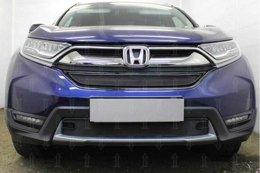 Защита радиатора Honda CR-V V 2016- (2 части) black верх