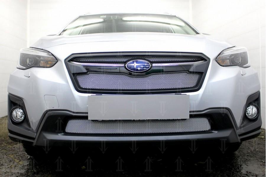 Защита радиатора Subaru XV 2017- (2 части) chrome верх