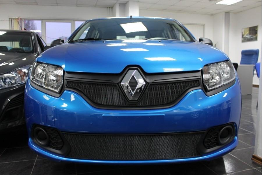 Защита радиатора Renault Sandero 2014-2018 black низ