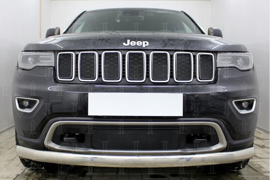 Защита радиатора Jeep Grand Cherokee IV (WK2) 2018- (Laredo, Limited, Overland) black верх