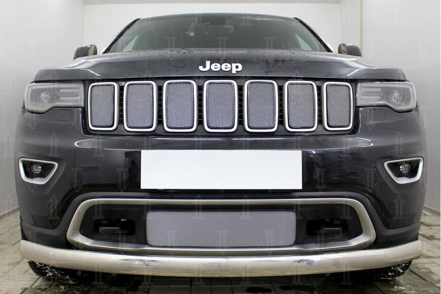 Защита радиатора Jeep Grand Cherokee IV (WK2) 2018- (Laredo, Limited, Overland) chrome верх