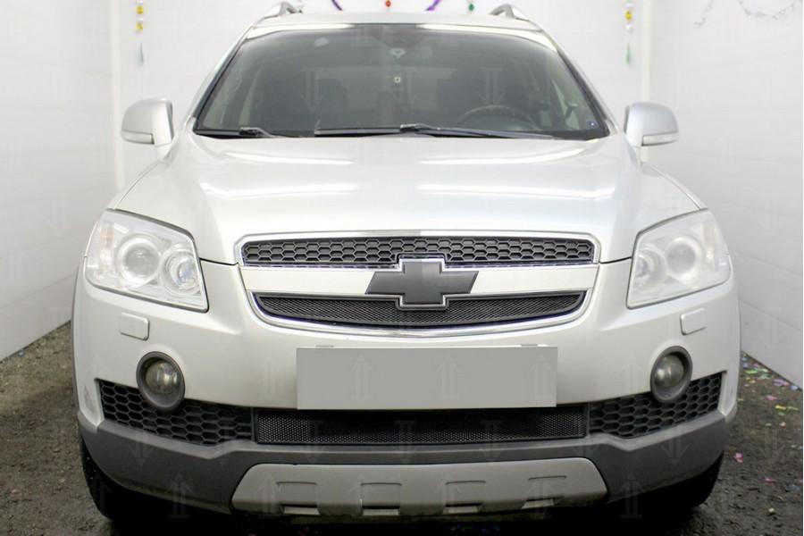 Защита радиатора Chevrolet Captiva 2006-2011 black верх