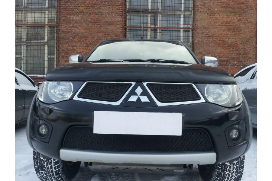 Защита радиатора Mitsubishi Pajero Sport 2008-2013 black низ