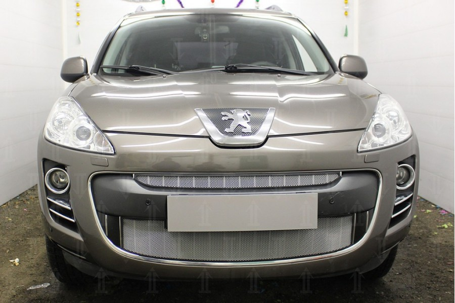 Защита радиатора Peugeot 4007 2007-2013 chrome верх