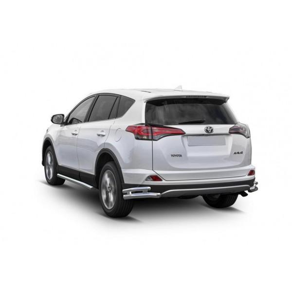 Защита заднего бампера d57+d42 уголки Toyota Rav 4 2015-2019