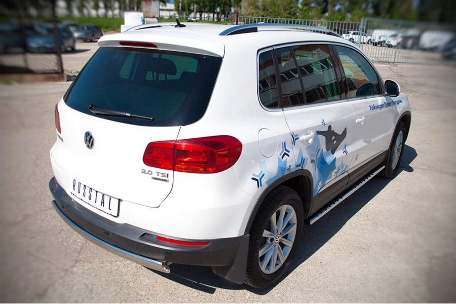 VolksWagen Tiguan Sport & Style 2011-2016 Защита заднего бампера d75х42 овал