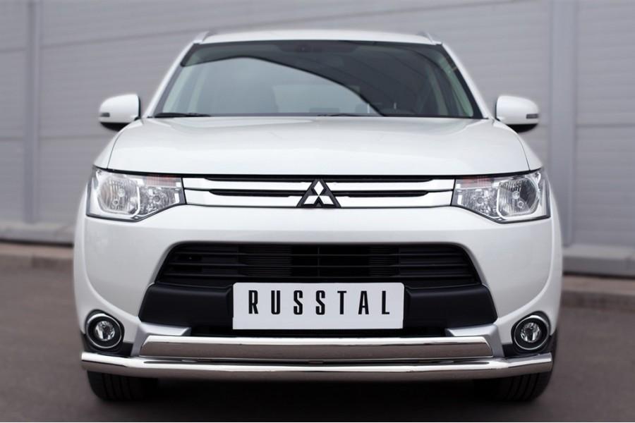 Mitsubishi Outlander 2014 Защита переднего бампера d63 (секции) d75х42 (дуга)