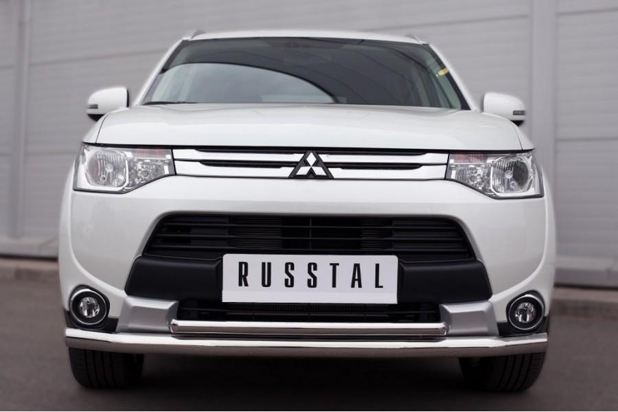 Mitsubishi Outlander 2014 Защита переднего бампера d63 (секции) d42 (дуга)