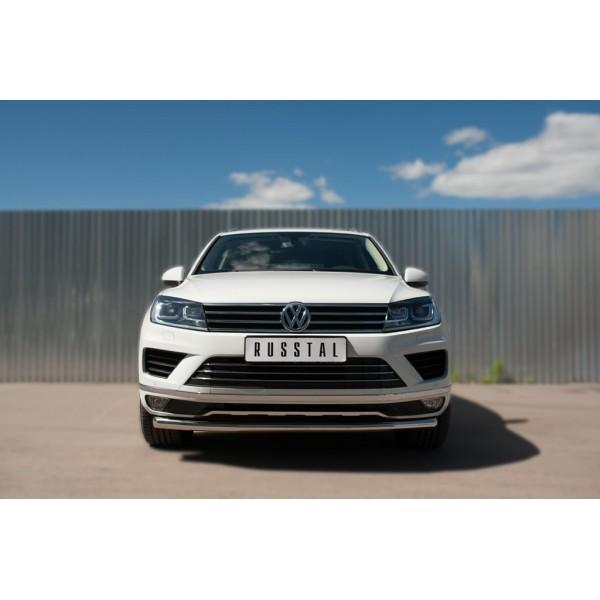 VolksWagen Touareg 2014- Защита переднего бампера d63 (секции)