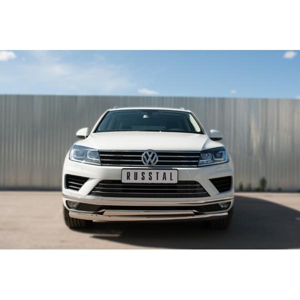 VolksWagen Touareg 2014- Защита переднего бампера d75х42 (дуга) d75х42 (дуга)