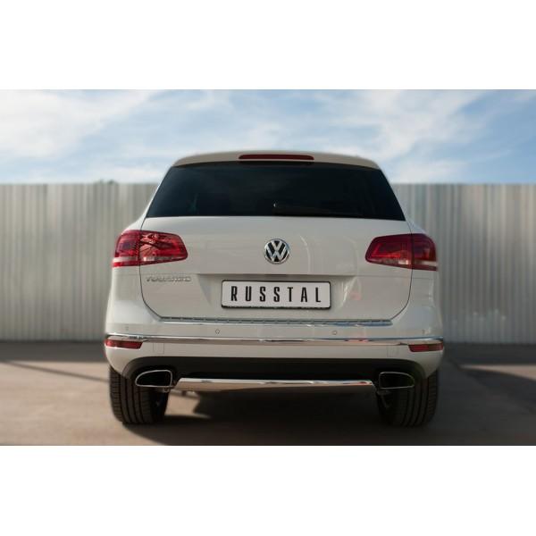 VolksWagen Touareg 2014- Защита заднего бампера d75х42 (дуга)