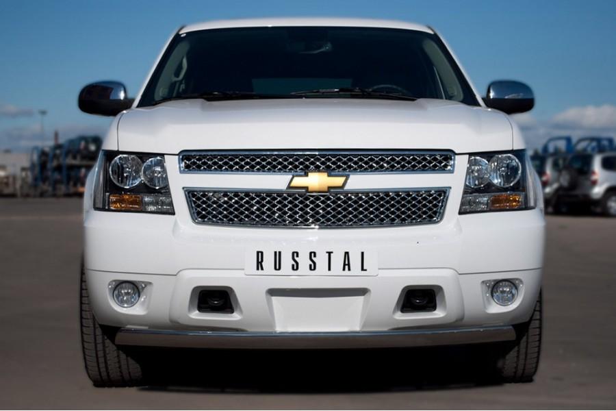 Chevrolet Tahoe 2012-2014 Защита переднего бампера d75х42 овал