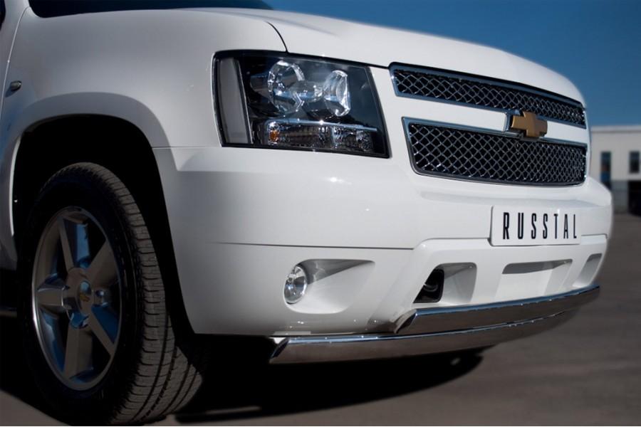 Chevrolet Tahoe 2012-2014 Защита переднего бампера d75/42х75/42 овалы