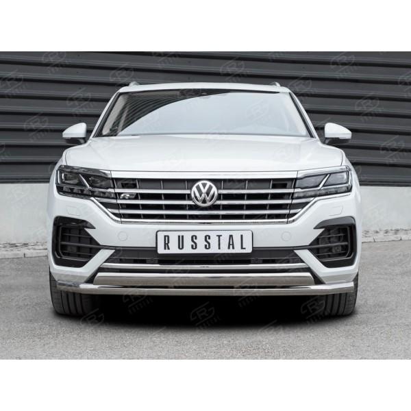 VOLKSWAGEN TOUAREG 2018-(not 2.0 TSI) Защита переднего бампера d63 секции-d75x42 дуга