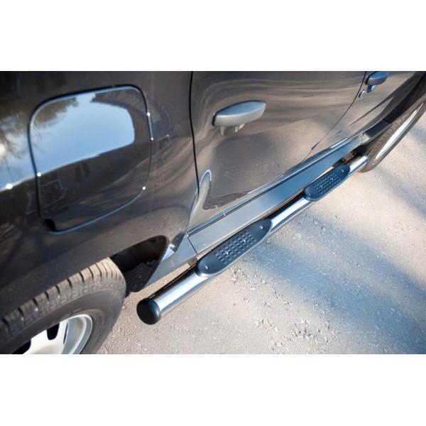 Renault Duster 4х2 2011-2014 Пороги труба d76 с накладками (вариант 2)