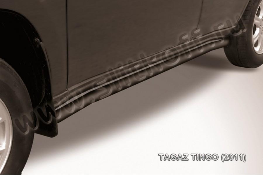 Защита порогов d57 с гибами (черное или серебристое покрытие)